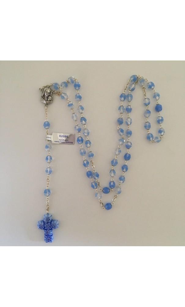 Chapelet bleu en verre style Murano