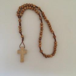 Chapelet en bois d'olivier sur corde sans fermoir