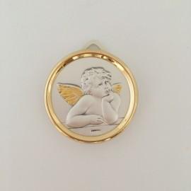 Médaille de berceau en argent ange gardien