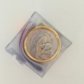 Médaille de berceau en argent Vierge à l'Enfant