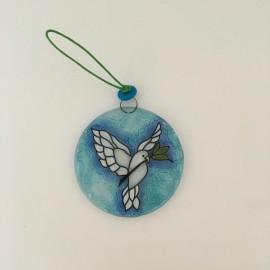 Médaille de berceau en verre colombe