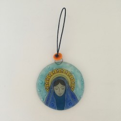 Médaille de berceau en verre Vierge Marie