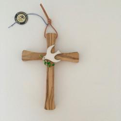 Croix olivier et colombe en émail