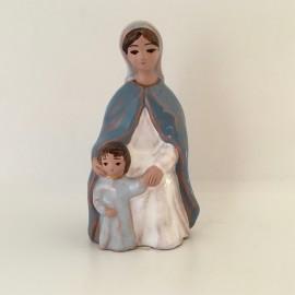Vierge à l'Enfant assise émaillée Grataloup
