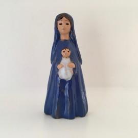 Vierge à l'Enfant émaillée debout bleu foncé Grataloup 9,5 cm