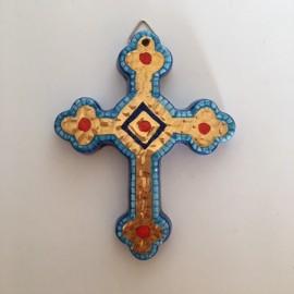 croix émaillée style mosaïque