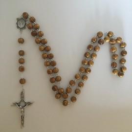 Chapelet bois et grande croix métal argenté