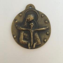 Médaille de berceau en bronze Vierge à l'Enfant