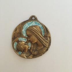 Médaille de berceau en bronze et émail Vierge à l'Enfant
