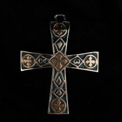 Croix bronze et émail bleu et jaune