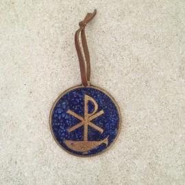 Médaille de berceau en bronze Vierge à l'Enfant et colombe
