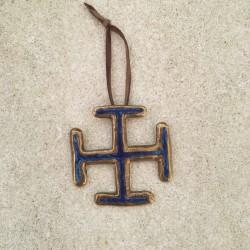 Croix scout en bronze et émail bleu