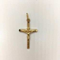 Croix plaqué-or avec Christ biseautée