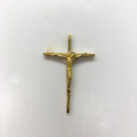 Croix plaqué-or avec Christ stylisée