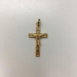Croix plaqué-or avec Christ motif palme