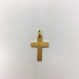 Croix plaqué-or sans Christ martelée