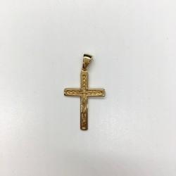 Croix plaqué-or sans Christ ciselée palme