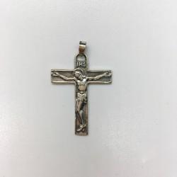 Croix argent avec Christ stylisée