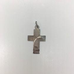 Croix argent sans Christ rayonnante