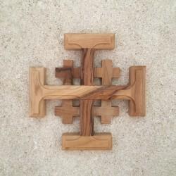 Croix de Jérusalem en olivier