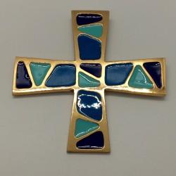 Croix carrée bronze et émail bleu moderne