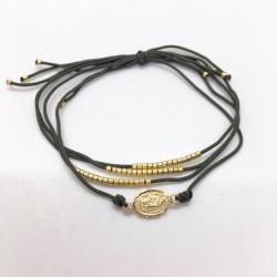 Bracelet médaille Madone plaqué or avec ses fils kaki