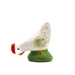 Poule picorante blanche,...