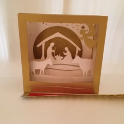 Carte-crèche ivoire 3D...