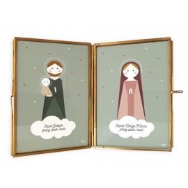 Cadre laiton Sainte Marie et Saint Joseph