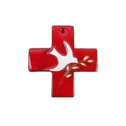 Croix murale carrée rouge...