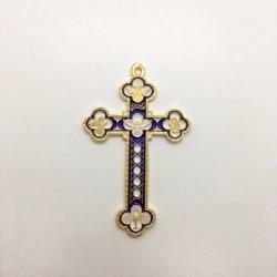 Croix baroque métal doré et...
