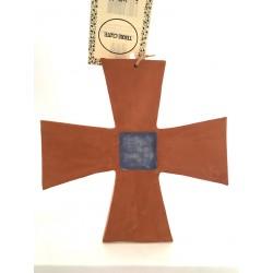 Croix carrée argile, émail...