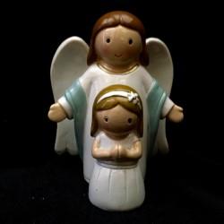"Ange gardien blanc et bleu avec fillette ""MY ANGEL"""