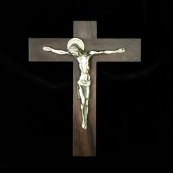 Crucifix en palissandre avec Christ en bronze doré