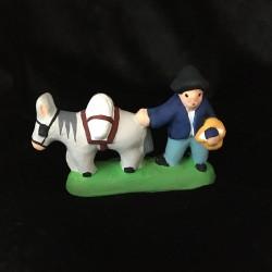 Paysan et son âne santon Filippi 3cm